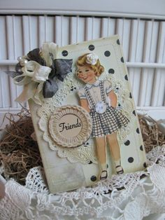 Black & White Polka Dot Card...with vintage girl cutout & lace paper doily.