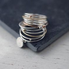 Galactical 14 stacking ring with 14kt yellow rose gold by Minicyn, €290.00