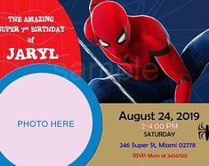 Digital (You print) Spiderman Birthday Invitations, Rsvp Wording, Everything Will Be Ok, Thank You Tags, 7th Birthday, Kid Names, Favor Tags, All The Colors, No Time For Me