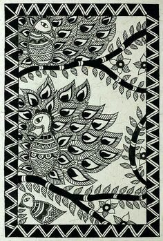Madhubani black and white birds madhubani paintings peacock, madhubani art, indian paintings, kalamkari Canvas Painting Images, Black Canvas Paintings, Indian Art Paintings, Canvas Art, Madhubani Paintings Peacock, Kalamkari Painting, Madhubani Art, Cool Art Drawings, Bird Drawings