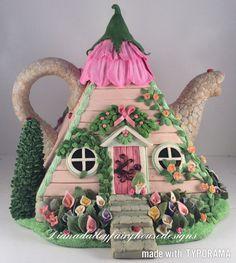 OOAK polímero arcilla rosa Pyamid tetera hadas casa alcatraces