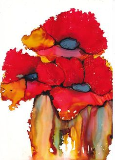 Red Poppies an original painting in alcohol ink 8 by Kitty69, $50.00