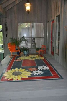 Painted rug for porch hmmmm I am liking this idea! Painted rug for porch hmmmm I am liking this idea! Painted Porch Floors, Porch Paint, Porch Flooring, Painted Rug, Painted Furniture, Painted Patio Concrete, Painted Decks, Painted Floor Cloths, Concrete Porch