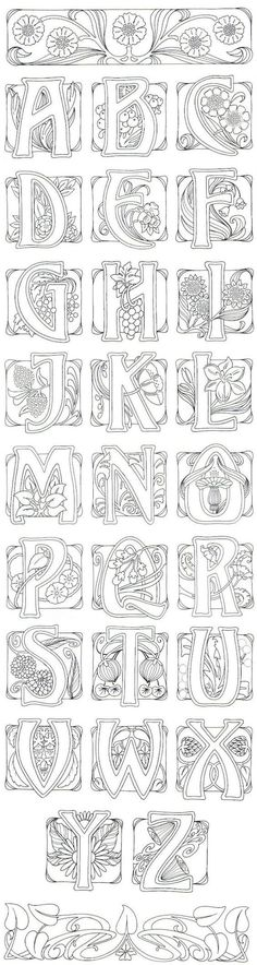 Art Nouveau- art journal idea: illustrate an alphabet. AMD - I adore this typography in art noveau style Colouring Pages, Adult Coloring Pages, Coloring Books, Alphabet Coloring, Doodles, Calligraphy Letters, Illuminated Letters, Letters And Numbers, White Letters