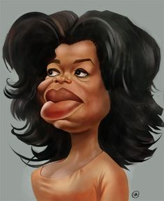 Oprah  Winfrey (b. 1954 jan 29, 58 in 2012) caricature by Nenad Vitas