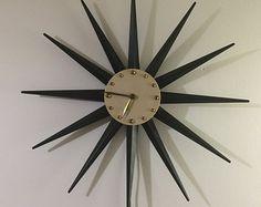 Vintage Atomic Wall Starburst \ Sunburst Clock Black Brass White Face with cord and plug Sunburst Clock, White Clocks, Plugs, Mid-century Modern, Cord, Mid Century, Brass, Wall Clocks, Face