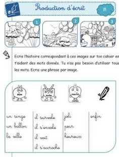 Production d'écrit au CP French Course, Teaching Schools, Image Fun, French Immersion, French Class, Teaching French, Writing Resources, Learn French, School Bags