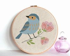 Bird cross stitch pattern pdf, Modern pattern, Animals cross stitch with blue flowers Counted cross stitch chart , nursery room decor Cross Stitch Bird, Simple Cross Stitch, Cross Stitch Flowers, Cross Stitching, Funny Cross Stitch Patterns, Cross Stitch Designs, Le Point, Etsy, Pink Flowers