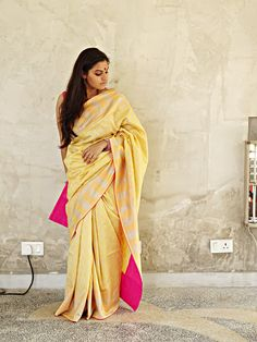 Chanderi - Pale Yellow with Silver Booti Print