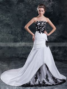Two Tone Strapless Appliqued Mermaid Gown with Chapel Train and Lace Underlay