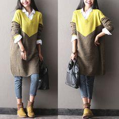 68498bbbde6 Women long winter spell color sweater - Tkdress - 1 Loose Sweater