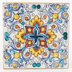 This ceramic wall and floor tile is entirely hand painted by Francesca Niccacci, an internationally renowned artist from Deruta. Her intricate geometric designs are a unique blend of sophisticated classic patterns and perfectly shaded colors. Italian Tiles, Talavera Pottery, Tuile, Italian Pottery, Hand Painted Ceramics, Ceramics Tile, Handmade Tiles, Decorative Tile, Tile Art