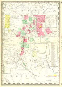 Map of New Mexico.  Rand, McNally & Co. c1880.  From a scarce Hardesty atlas. Color coded are Unconfirmed grants, reservations, confirmed grants