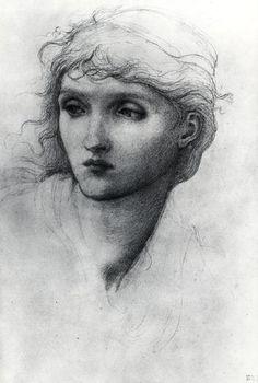 Edward Burne-Jones - PreRaphaelite Artist - Soft graphite, sketch of a female