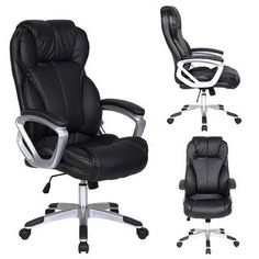 – Black – Deluxe Professional PU Leather Tall and Big Ergonomic Office High Back Chair Boss Work Task Computer Executive Comfort Comfortable Padded Loop Arms Nylon Base Swivel Adjustable Seat Furniture for Conference Room Receiption High Back Office Chair, Mesh Office Chair, High Back Chairs, Office Desk, Office Paint, Office Spaces, Home Office Furniture, Home Office Decor, Online Furniture