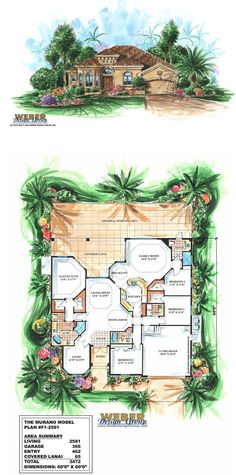 F1-2581 Murano - Mediterranean House Plan - One-Story, 4 Bedrooms, 3 Full Bath, 2581 square feet living area.