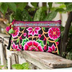 Thai Embroidered Wristlet Clutch Summer Unique Bag