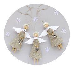 Burlap Christmas Angels Set of 3, Rustic Tree Decorations, Eco-friendly holiday decor, $18.00