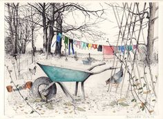 """""""'Wheelbarrow washing' by Pamela Grace, a contemporary artist and printmaker living and working in Galloway, southwestern Scotland Watercolor Sketchbook, Pen And Watercolor, Watercolor Illustration, Watercolor Paintings, Ink In Water, Cityscape Art, Tinta China, Landscape Artwork, Ink Illustrations"""