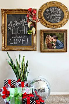 Dimples and Tangles: CHRISTMAS 2014 HOME TOUR {BLOGGER STYLIN' HOME TOURS} || Chalkboards for Christmas Decorations || Disco Ball || Ornaments on frame from dimplesandtangles.com