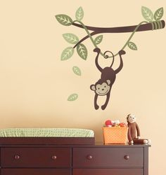 Monkey Hanging on a Branch Vine  Kids Vinyl Wall by SimpleShapes, $47.00