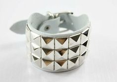 Premium cowhide leather silverrivet wristband and by pinkyourlimb - StyleSays