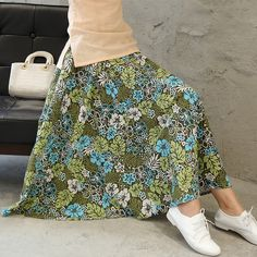 688dd72953f2 Women Fashion Maxi Skirts Womens Summer New Chinese Style Print Floral  Pleated Big Hem Lady Long Skirt 2017 Saias-in Skirts from Women's Clothing  ...