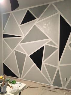 Bedroom Wall Designs, Room Design Bedroom, Room Ideas Bedroom, Bedroom Decor, Cute Room Decor, Diy Wall Decor, Geometric Wall Paint, Wall Paint Patterns, Wall Painting Decor