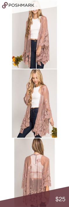 Lace Kimono PRE-ORDER NOW Beautiful 3/4 sleeve lace kimono. Size S,M,L available. Color: taupe. Pre-order now for only $25 as full price will be $39 after April 30th. iConcepta Boutique  Tops