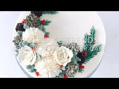 HOT CAKE TRENDS 2016 Buttercream White Christmas wreath cake - How to make by Olga Zaytseva - YouTube