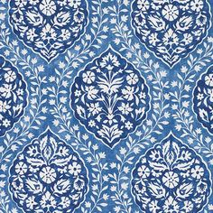 Marguerite Fabric in Azure Blue Blue And White Fabric, Blue Fabric, Art Deco Wallpaper, Fabric Wallpaper, Islamic Art Pattern, Pattern Art, Paisley Pattern, Textile Patterns, Print Patterns