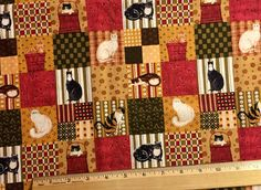 WARREN KIMBLE Cat Fabric ~ Cats Patchwork Quilting Treasures by Cranston Rare HTF #fabric4you