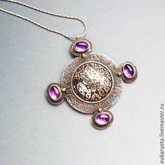 Купить Кулон-крест двусторонний (серебро, золото, камни) Потайная комната - авторская ручная работа