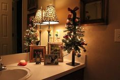 Bathroom Ambiance love it, I always decor my baths but I love the little tree