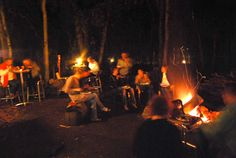 Paperbark Camp, Jervis Bay NSW - post-wedding reception, chatting through the night by the campfire #wedding #forest #reception #relax