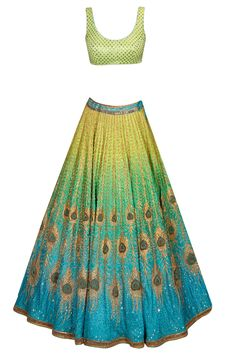 Blue and green peacock artwork ombre lehenga set with green floral printed blouse