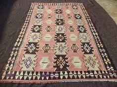 "Turkish Kilim Rug,6,4""x9,6"" Feet 193x290 Cm Decorative Handwoven Turkish Kilim Rug,Pastel Colour Turkish Kilim Rug."