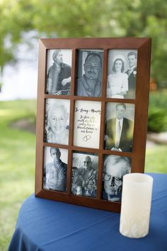 """Memory Table at wedding, collage of photos & candle: """"In Loving Memory, To those who could not be here today but are forever present in our hearts"""" #heartcandleswedding"""