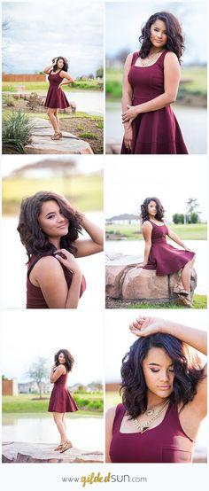Houston senior photographer, maroon dress for senior pictures in Cypress, TX, senior model program for Gilded Sun Photography www.gildedsun.com
