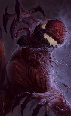 Cartoons And Heroes — extraordinarycomics: Venom & Carnage by Matthew. Comic Villains, Marvel Characters, Marvel Comics Art, Marvel Heroes, Symbiotes Marvel, Venom Art, Zombie Monster, Marvel Venom, Nerd Art