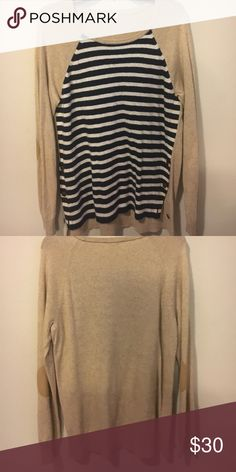 Stripped J.Crew Sweater Navy and white stripes with elbow pads J. Crew Tops Blouses