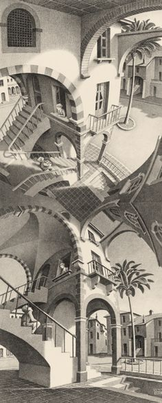 M.C. Escher. It's almost like he was looking through a broken piece of glass when he got the idea.