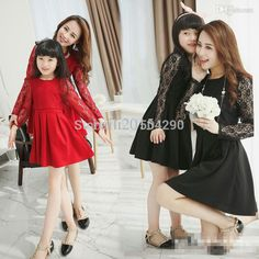 Best 2015 Korean Family Fashion Matching Mother Daughter Clothes Red Black Color Long Lace Sleeve &Amp; Lace Cover Mom And Daughter Dress Under $34.3 | Dhgate.Com