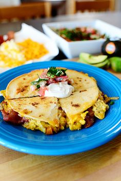 Breakfast Quesadillas- With homemade tortillas and delicious topping these are perfect for breakfast.