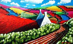 """Windy gap"" 100cm x 150cm acrylic on fat canvas www.eoinoconnor.com Heart Art, Canvas, Artist, Gap, Paintings, Tela, Painting Art, Canvases, Painting"
