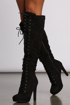 Black Heel Boots, Sexy Boots, Black Thigh High Boots, High Heeled Boots, Womens Thigh High Boots, Black Heels, Fashion Heels, Fashion Boots, Knee High Heels