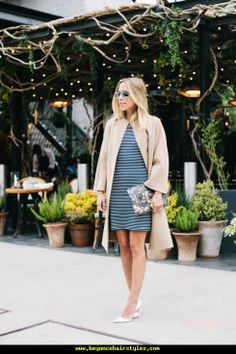 classic black and white striped dress, beige camel coat and floral Givenchy clutch via damsel in dior Beautiful Outfits, Cute Outfits, Cozy Winter Outfits, Professional Outfits, Fashion Tips For Women, Mode Inspiration, Get Dressed, Spring Summer Fashion, Dress To Impress