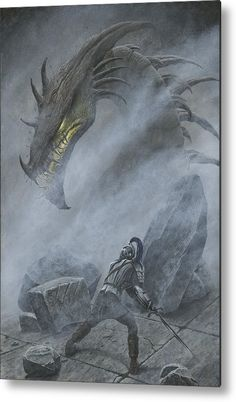 Turin faces Glaurung on the bridge at Nargothrond. Painting by Kip Rasmussen. Dragon Medieval, Great Warriors, Dragon Images, Jrr Tolkien, Thranduil, Dark Places, Dragon Art, Illustrations, Turin