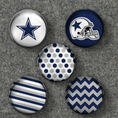 Dallas Cowboys NFC East Glass Bubble Marble Magnets - Set of 5 Magnets