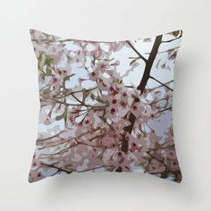 Pink blossom pillow spring cherry pillow pink by NewCreatioNZ